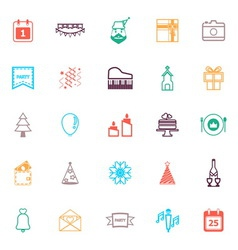 Christmas and new year line icons flat color vector image vector image