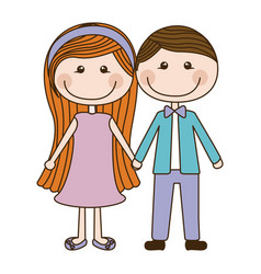 Colorful caricature couple in suit formal with vector