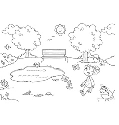 Coloring Young girl in the park vector image vector image