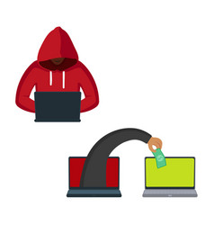 flat hacker stealing money set vector image vector image