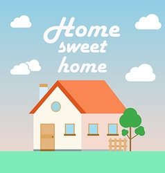 home sweet home poster in flat cartoon style with vector image
