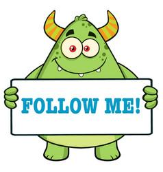 Horned green monster holding follow me sign vector