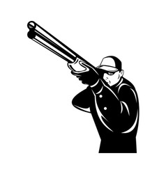 hunter aiming shotgun rifle vector image vector image