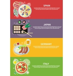 Italy japan spain and germany food vector