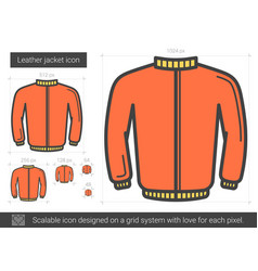Leather jacket line icon vector