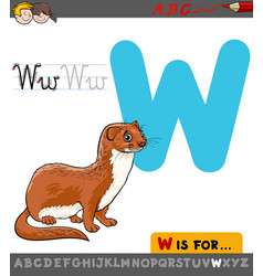 Letter w with cartoon weasel vector