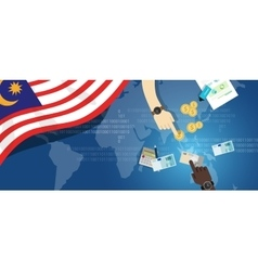 Malaysia economy financial hand holding money vector