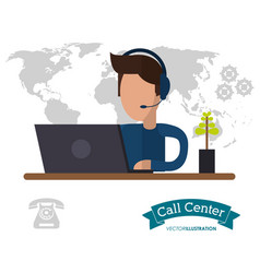 Male call center working desk world helpline vector