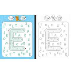maze letter e vector image vector image