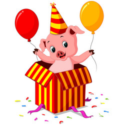 Pig cartoon coming out of gift box vector