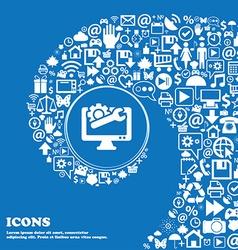 Repair computer icon sign nice set of beautiful vector