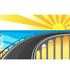 Scene with bridge and ocean vector