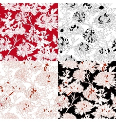 Set of Seamless With Chrysanthemum vector image