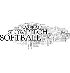 Slow-pitch word cloud concept vector