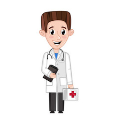 smiling boy in doctor uniform with stethoscope vector image vector image