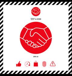 symbol of handshake in circle icon vector image