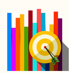 target with dart on colorful papers background vector image vector image