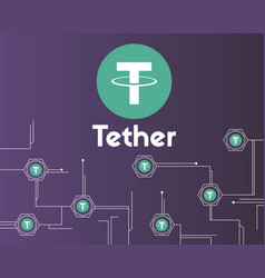 Tether cryptocurrency circuit theme background vector