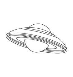 Ufo icon in outline style isolated on white vector