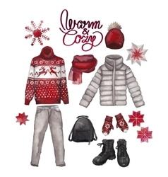 Watercolor winter clothes vector