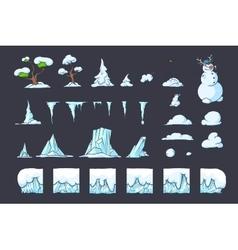 Winter tile set for platformer game seamless vector