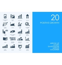 Set of blue hamster library positive growth icons vector