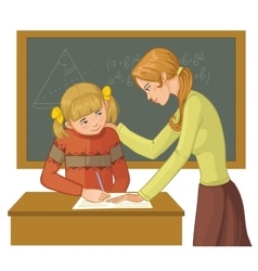 Teacher helps a girl in classroom vector