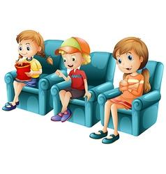 Children sitting on blue sofa vector image