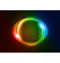 Abstract round on black rainbow vector