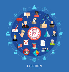 Online voting circular icons set vector
