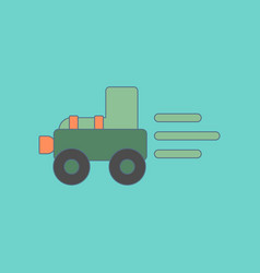 flat icon on background kids toy tractor vector image