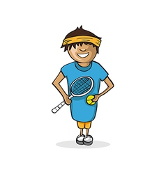 Professional tennis player man cartoon figure vector