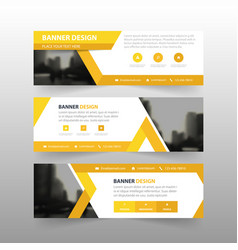 Yellow triangle abstract corporate business banner vector