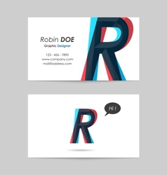 Business card template - letter r vector
