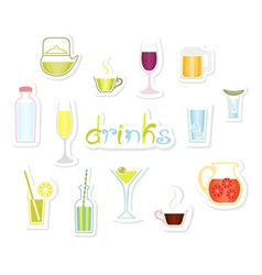Drinks icons vector
