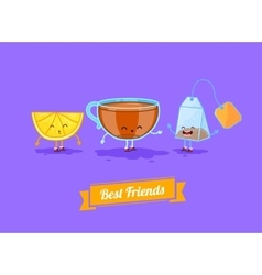 Funny cartoon funny cup lemon and teabag vector