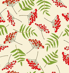 Red rowan berry seamless pattern vector