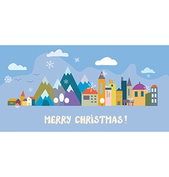 Christmas greeting card with town and snow vector