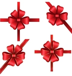 Sset of red gift bows with ribbons vector