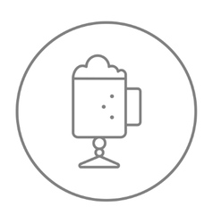 Glass mug with foam line icon vector
