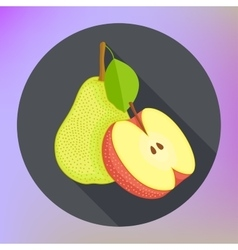 Red apple pear flat icon vector