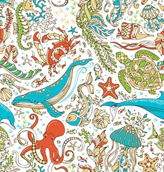 Seamless wild sea life pattern vector