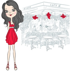Beautiful fashion girl in red elegant short dress vector
