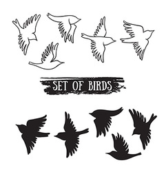 Birds flying in the sky black icons vector