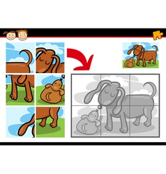 Cartoon puppy jigsaw puzzle game vector