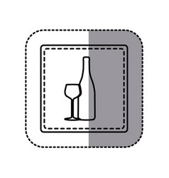 contour emblem wine bottle with glass icon vector image