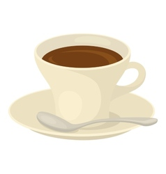 Cup of coffee saucer and spoon vector image vector image
