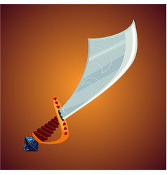 fantasy pirate saber cartoon sword icon magic vector image