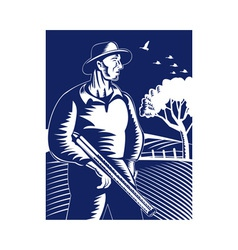 farmer hunter with shotgun rifle vector image vector image