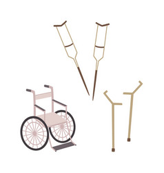 Flat mobility ads set -wheelchair crutches vector